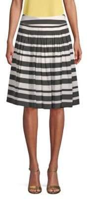 St. John Stretch Silk Stripe Skirt