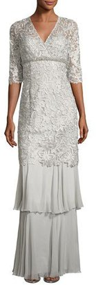 Rickie Freeman for Teri Jon 3/4-Sleeve Lace Tiered Column Gown, Gray $860 thestylecure.com