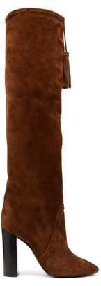 Saint Laurent Meurice Tassel Tie Suede Boots - Womens - Tan