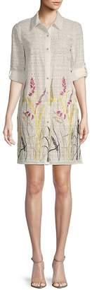 T Tahari Women's Sabina Floral Cotton Shirtdress