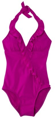 Sara Blakely ASSETS® by Women's Halter 1-Piece Ruffle Swimsuit -Magenta