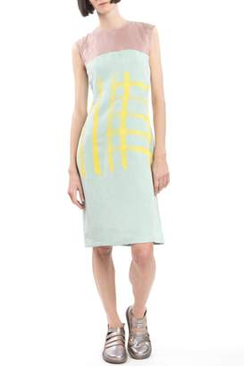 Clara Kaesdorf Shift Yellow Print Dress