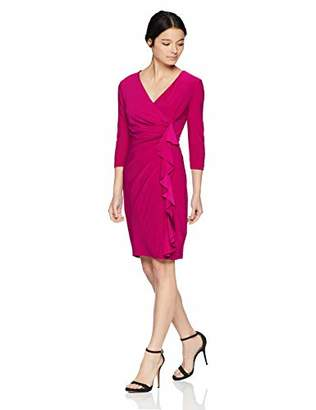 Jessica Howard Women's Petite 3/4 Sleeve Surpice Dress with Side Drape and Cascade