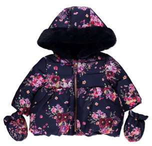 George Navy Floral Print Shower Resistant Coat