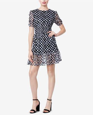 Betsey Johnson Polka-Dot Smocked Lace Dress