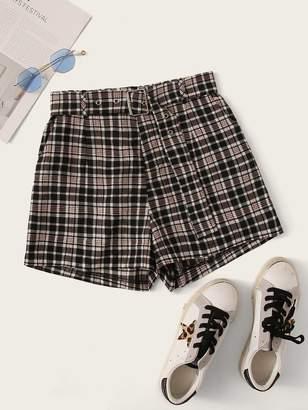 Shein Plaid Print High Waist Belted Shorts