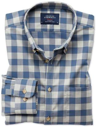 Charles Tyrwhitt Extra Slim Fit Button-Down Non-Iron Twill Blue and Grey Check Cotton Shirt Single Cuff Size XS