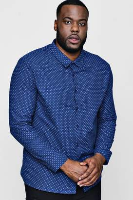 boohoo Big And Tall Polka Dot Long Sleeve Shirt