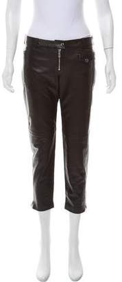 Michael Kors Leather Mid-Rise Pants w/ Tags