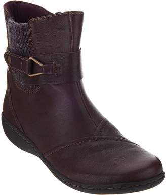 Clarks Leather Ankle Boots w/ Knit Panel - Fianna Adley