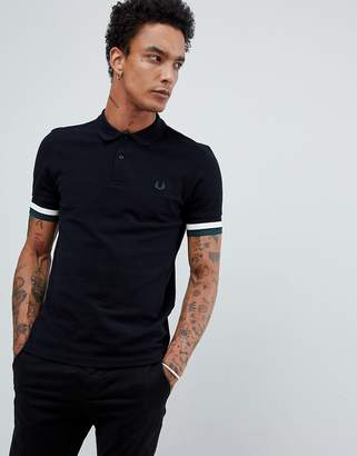 Fred Perry bold cuff polo in black