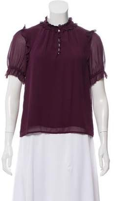 Rebecca Minkoff Short Sleeve Ruffle-Accented Top