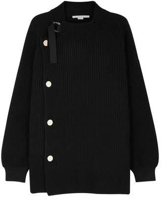Stella McCartney Black Ribbed Wool Cardigan