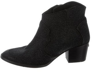 Zadig & Voltaire Textured Round-Toe Ankle Boots $175 thestylecure.com
