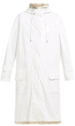 Simone Rocha 4 Moncler Ruffle Trimmed Raincoat - Womens - White