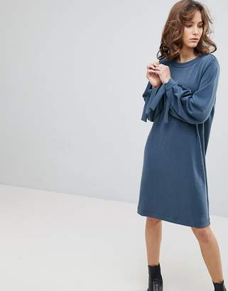 Selected Sweat Dress With Tie Sleeves
