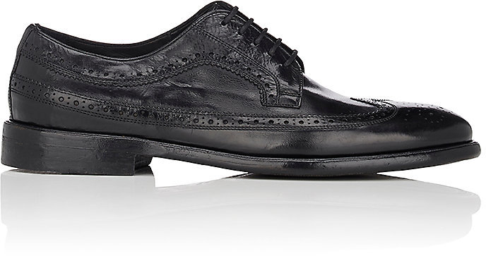 Barneys New York Barneys New York Men's Washed Leather Wingtip Bluchers