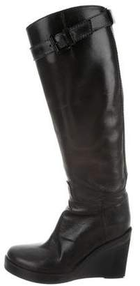 Ann Demeulemeester Leather Wedge Boots