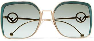 Fendi Oversized Square-frame Acetate And Gold-tone Sunglasses - Emerald