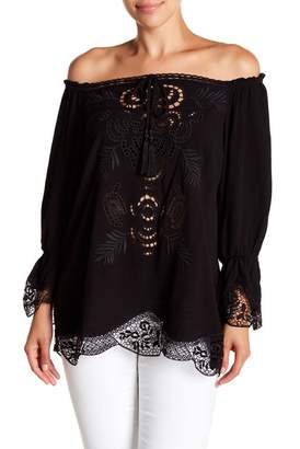 Hale Bob Off-the-Shoulder Eyelet Lace Detailed Top