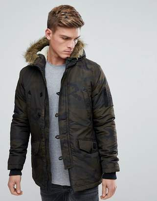 Brave Soul Parka Jacket with Camo Faux Fur Trim Hood