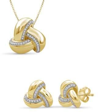 Jewelersclub JewelersClub 1/5 Carat T.W. White Diamond 14k Gold Over Silver 2-Piece Love Knot Jewelry Set