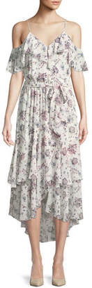 Joie Estilda V-Neck Sleeveless Ruffled Floral-Print Dress