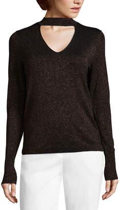 WORTHINGTON Worthington Long Sleeve Choker Neck Pullover Sweater