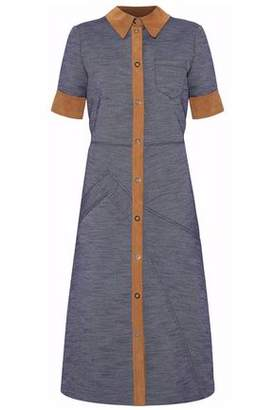 Maison Margiela Faux Suede-Trimmed Chambray Midi Shirt Dress