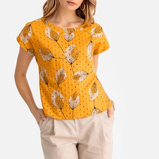 Anne Weyburn Floral Print Broderie Anglaise Blouse