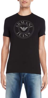 Armani Jeans Black Slim Fit Logo Tee