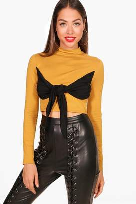 boohoo Sara Tie Knot Front Detail High Neck Top
