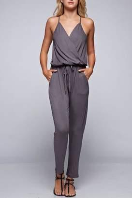 Love Stitch Lovestitch Grey Wrap Jersey Jumpsuit