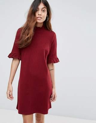 Vero Moda Ribbed Shift Dress With Frill Sleeve