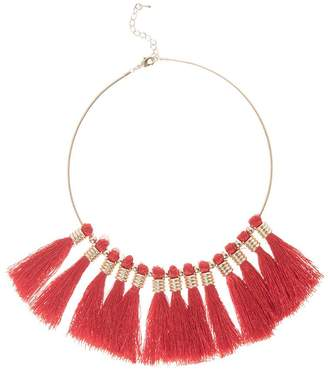 Quiz Red Statement Tassel Necklace