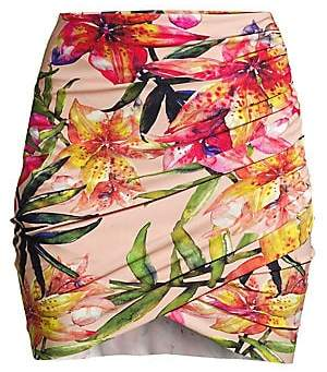 Chiara Boni Women's Ebby Ruched Floral Coverup Skirt