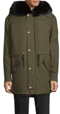 Moose Knuckles Fur Trimmed Canvas Jacket