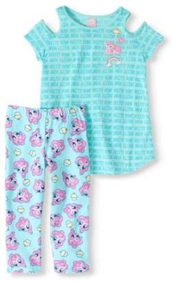 My Little Pony Girls' Cold-Shoulder T-Shirt and Legging 2-Piece Set