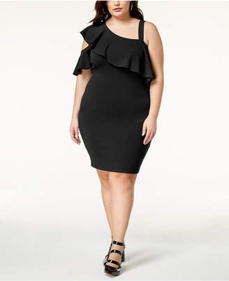 Soprano Trendy Plus Size One-Shoulder Bodycon Dress
