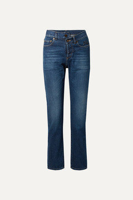 Saint Laurent Embroidered High-rise Slim-leg Jeans - Mid denim