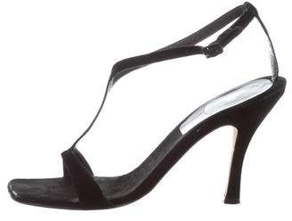 Vera Wang Suede T-Strap Sandals