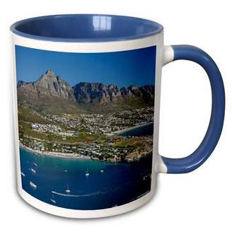 3dRose Clifton Beach and Camps Bay, Table Mountain, Cape Town, South Africa. - Two Tone Blue Mug, 11-ounce