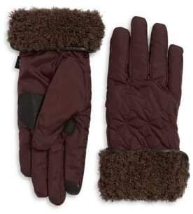 Echo Geometric Faux Fur Gloves