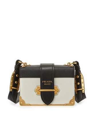 Prada Cahier Notebook Shoulder Bag, White/Black (Bianco/Nero) $2,660 thestylecure.com