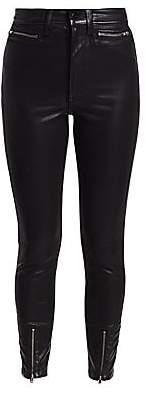 Joe's Jeans Women's Bella High-Rise Zip-Hem Coated Ankle Skinny Jeans