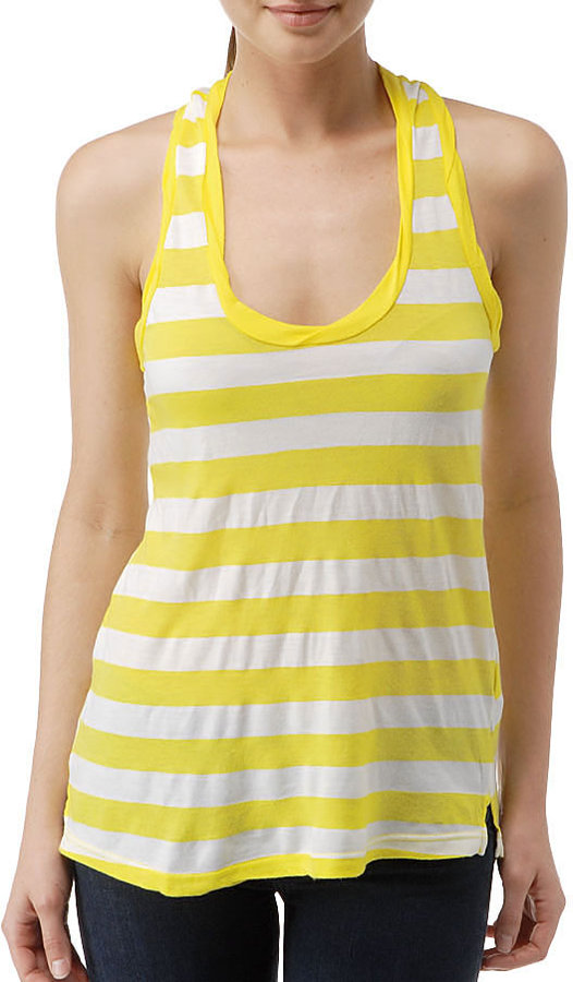 White Rugby Stripe Racer Back Tank