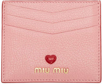 Miu Miu Pink Madras Love Card Holder