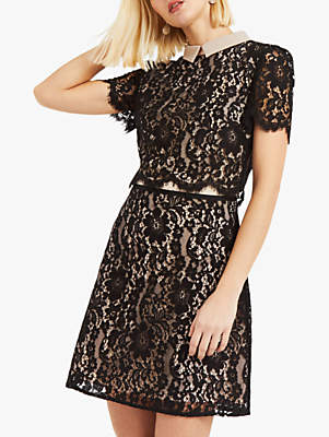 Oasis Collared Lace Shift Dress, Black