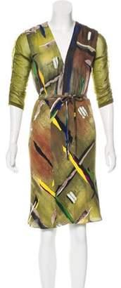 Balenciaga Printed Knee-Length Dress Green Printed Knee-Length Dress