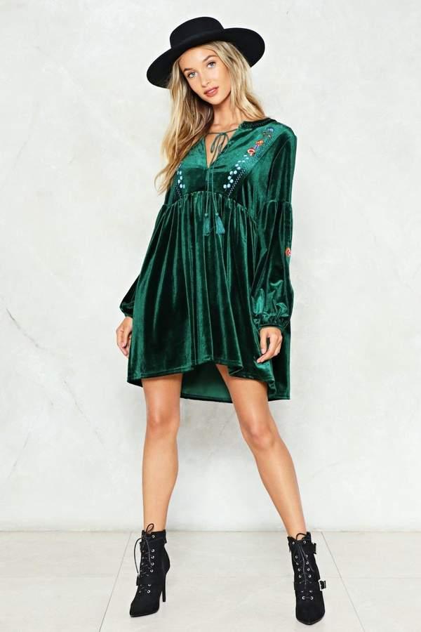 nastygal Don't Smock Me Velvet Dress